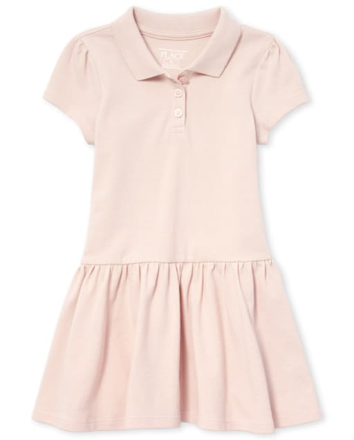Toddler Girls Uniform Short Sleeve Pique Polo Dress