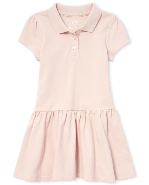 Vestido polo de piqué de manga corta con uniforme para niñas pequeñas