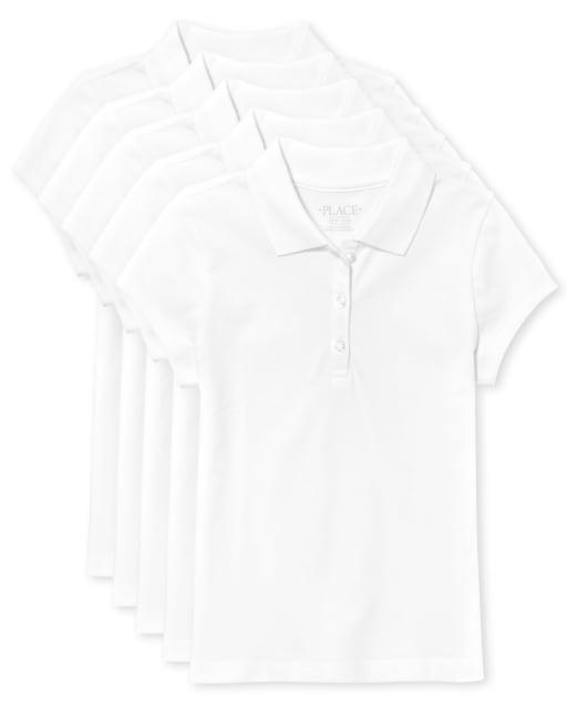 Paquete de 5 camisetas polo de uniforme de piqué, manga corta, para niña