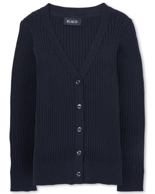 Girls Uniform Long Sleeve Ribbed Boyfriend Cardigan