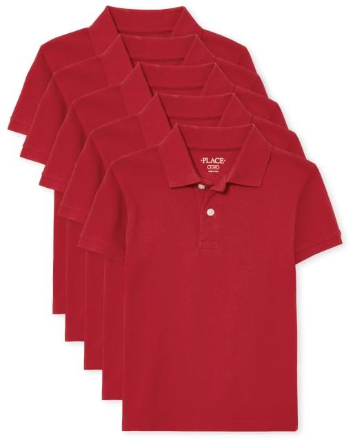 Polo de piqué de uniforme para niños, paquete de 5
