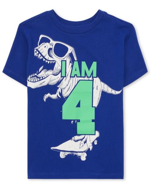 Boys Short Sleeve 'I Am 4' Dino Birthday Graphic Tee