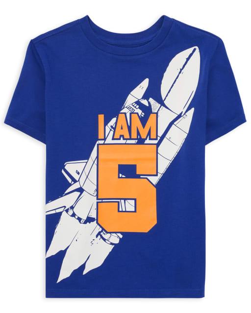 Boys Short Sleeve 'I Am 5' Rocket Ship Birthday Graphic Tee