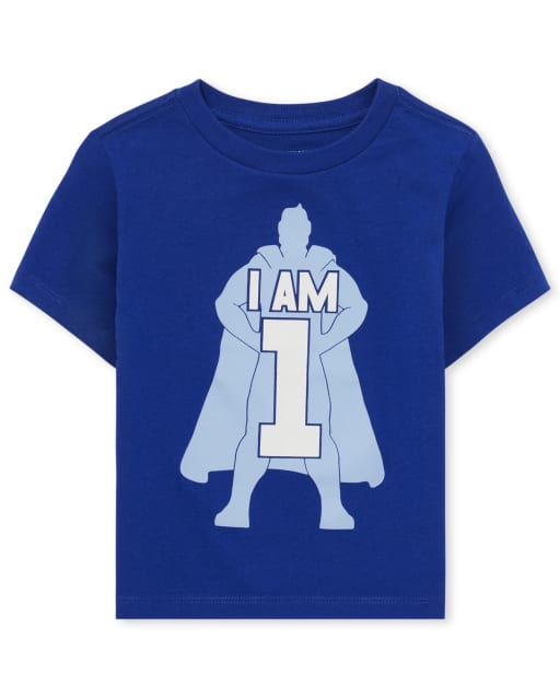 Baby And Toddler Boys Short Sleeve 'I Am 1' Superhero Birthday Graphic Tee