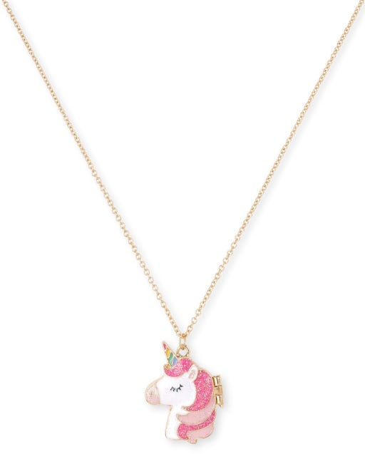 Girls Glitter Unicorn Locket Necklace