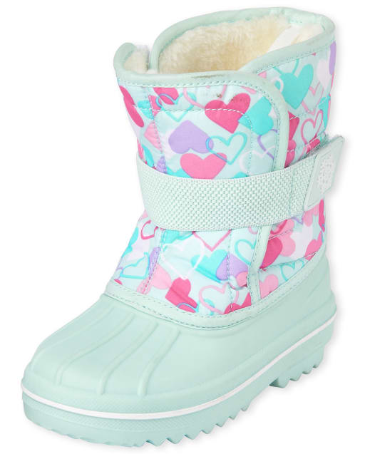 Toddler Girls Heart Print Canvas Snow Boots