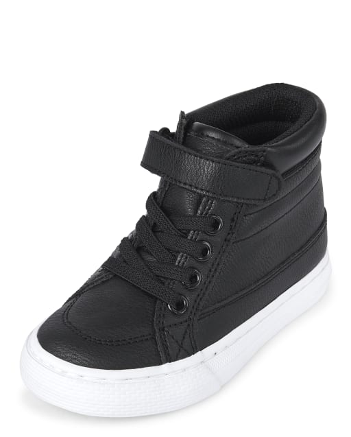 Toddler Boys Faux Leather Hi Top Sneakers
