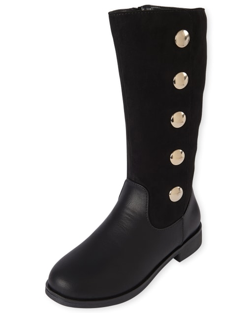 Girls Studded Faux Suede Tall Boots