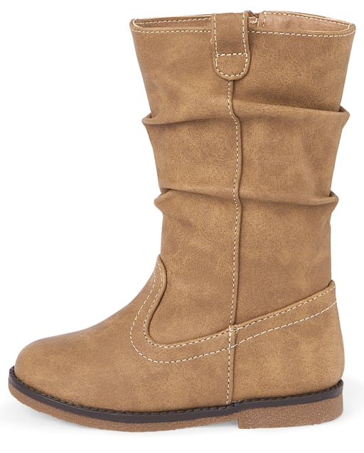 Toddler Girls Faux Leather Slouch Boots