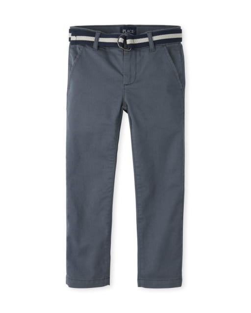 Boys Christmas Belted Woven Skinny Chino Pants