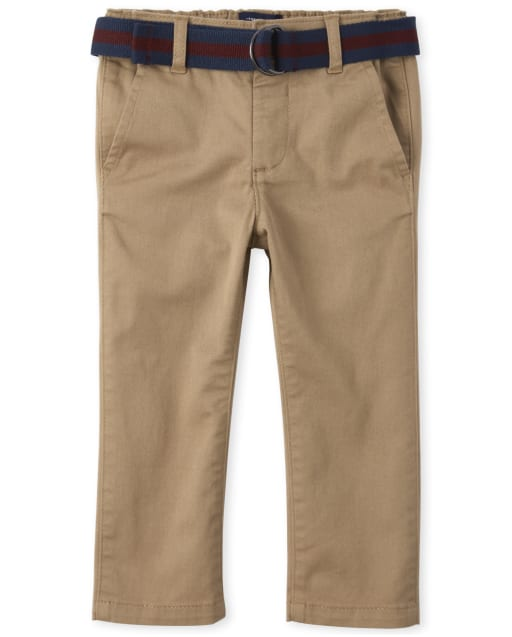 Baby And Toddler Boys Belted Woven Stretch Chino Pants
