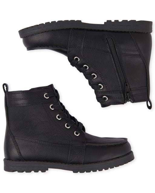 Boys Christmas Faux Leather Lace Up Boots