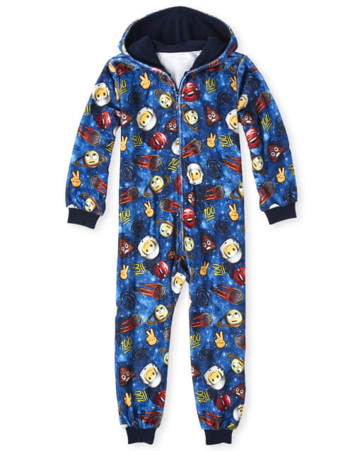 Pijama de una pieza con capucha Space Emoji Fleece de manga larga para niños