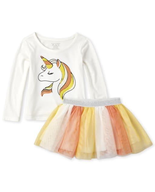 Baby And Toddler Girls Halloween Long Sleeve Unicorn Top And Glitter Woven Tutu Skirt Set