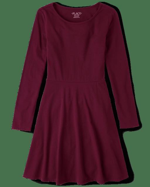 Girls Long Sleeve Knit Skater Dress