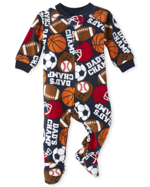 Baby And Toddler Boys Long Sleeve 'Dad's Champ' Sports Fleece Footed One Piece Pajamas