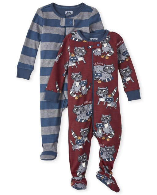 Baby And Toddler Boys Long Sleeve Raccoon Snug Fit Cotton Footed One Piece Pajamas 2-Pack