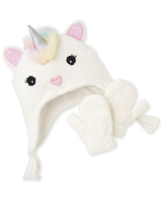 Toddler Girls Glitter Unicorn Hat And Mittens Set