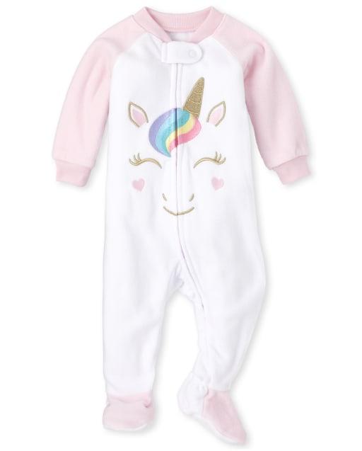 Baby And Toddler Girls Halloween Long Sleeve Unicorn Fleece Footed One Piece Pajamas