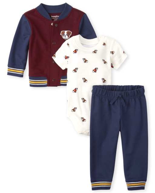 Baby Boys Puppy Varsity Jacket 3-Piece Playwear Set