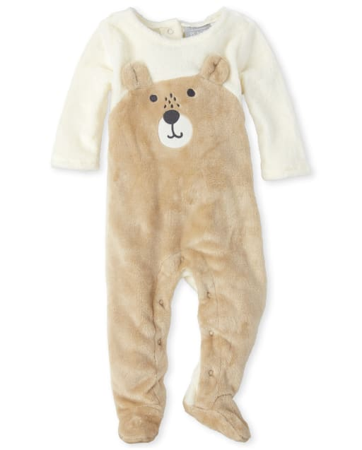 Baby Boys Long Sleeve Bear Friends Furry Footed Coverall