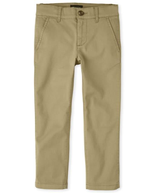 Pantalones chinos pitillo elásticos tejidos y uniformes para niños