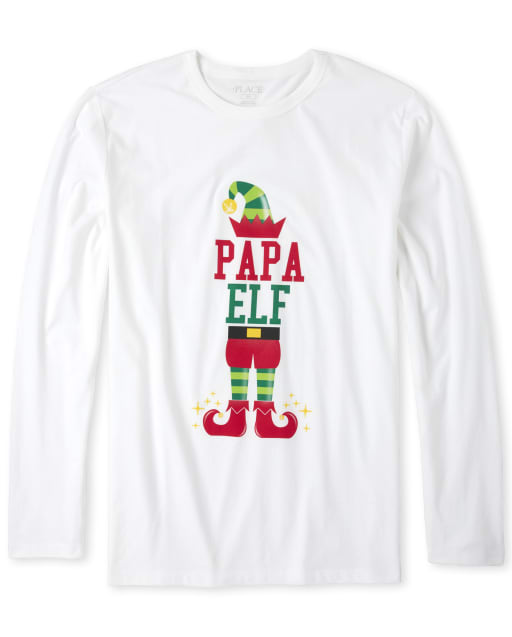Mens Matching Family Christmas Long Sleeve 'Papa Elf' Graphic Tee