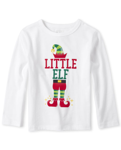 Baby And Toddler Boys Matching Family Christmas Long Sleeve 'Little Elf' Graphic Tee