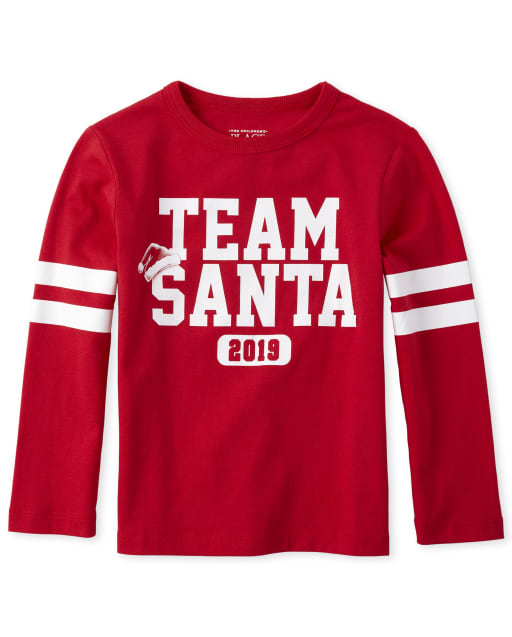 Baby And Toddler Boys Matching Family Christmas Long Sleeve 'Team Santa 2019' Graphic Tee