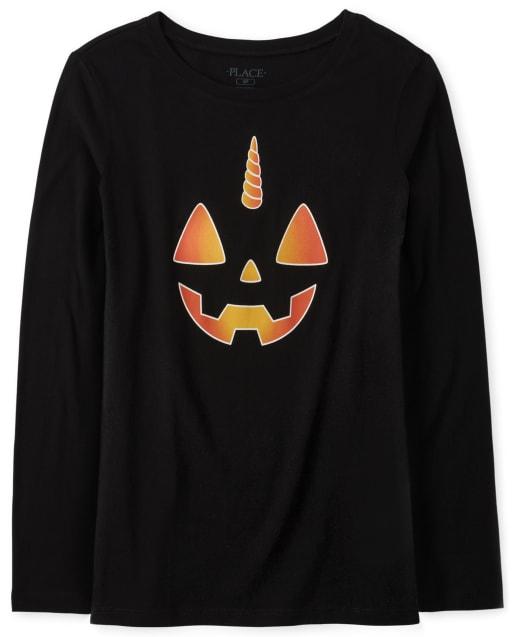 Womens Matching Family Halloween Long Sleeve Glow In The Dark Pumpkin Graphic Tee