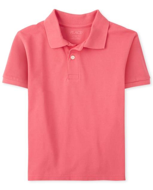 Boys Short Sleeve Matching Pique Polo
