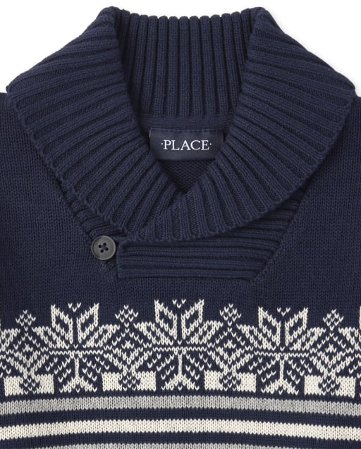 The Childrens Place Boys Fairisle Shawl Neck Sweater