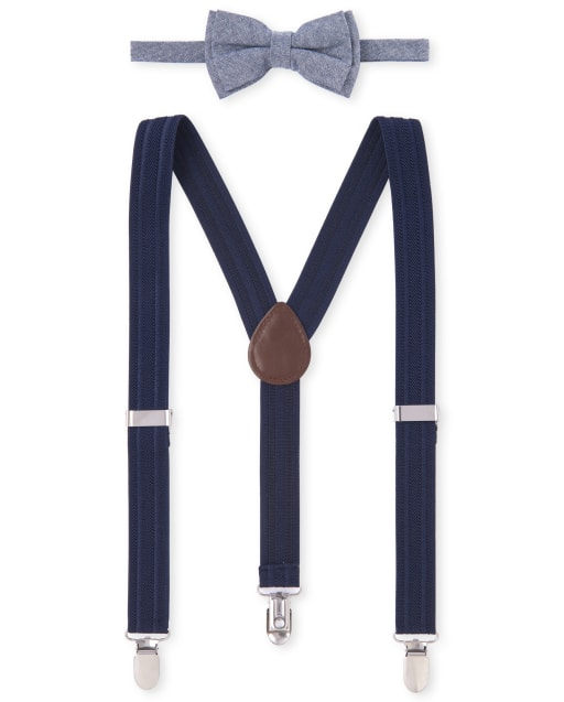 Boys Christmas Chambray Matching Bow Tie And Suspenders Set