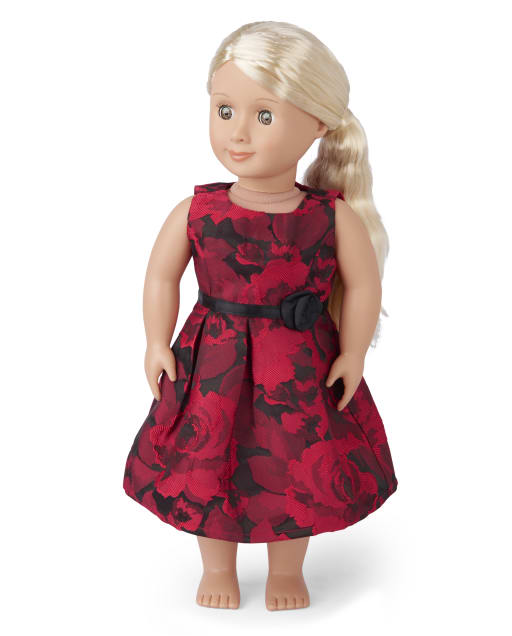 Doll Mommy And Me Christmas Sleeveless Floral Jacquard Woven Matching Pleated Dress