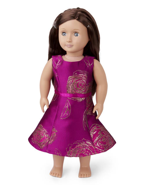 Doll Mommy And Me Christmas Sleeveless Metallic Floral Print Jacquard Woven Matching Fit And Flare Dress