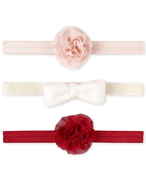 Baby Girls Christmas Glitter Flower Bow Headwrap 3-Pack