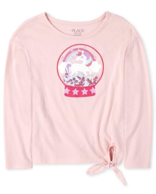 Top de tirantes con estampado de unicornio y confeti agitador de manga larga para niñas