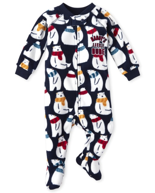 Baby And Toddler Boys Long Sleeve Embroidered 'Daddy's Little Dude' Polar Bear Print Fleece Footed One Piece Pajamas