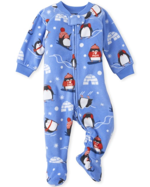 Baby And Toddler Boys Long Sleeve Snow Penguin Print Matching Fleece Footed One Piece Pajamas