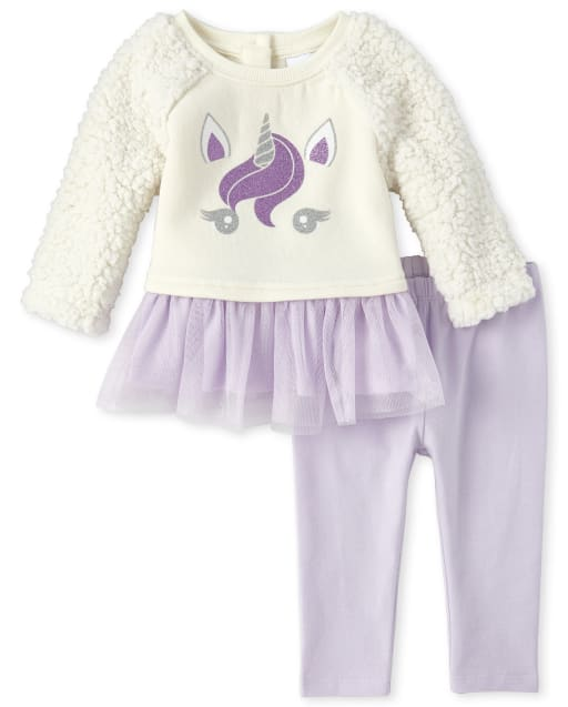 Girls Long Sleeve Glitter Unicorn Sherpa Tutu Peplum Top And Leggings 2-Piece Outfit Set