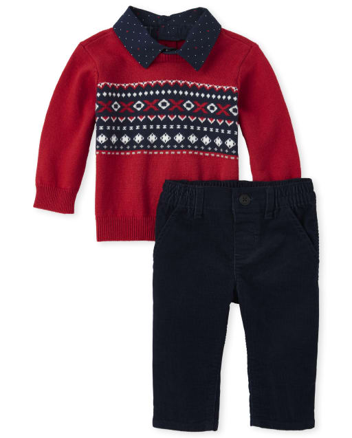 Baby Boys Christmas Long Sleeve Fair Isle Print 2 In 1 Sweater And Pull On Corduroy Pants Matching Set