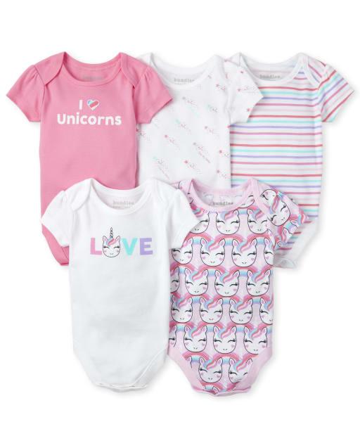 Baby Girls Short Sleeve 'I Love Unicorns' Graphic Bodysuit 5-Pack