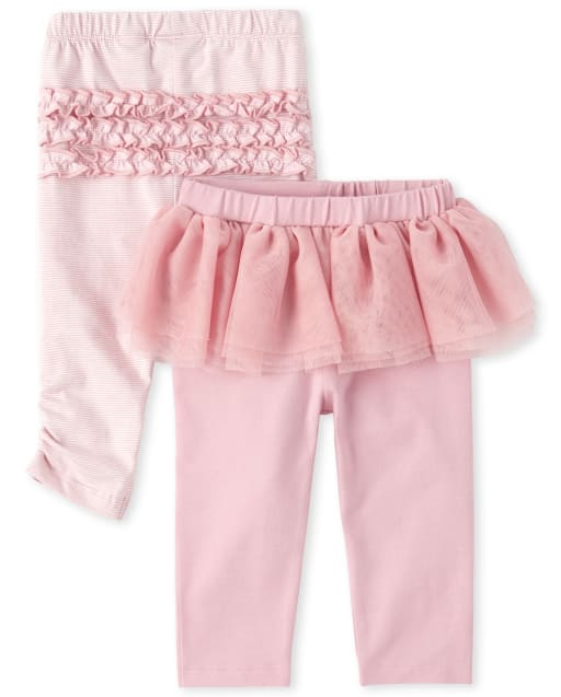 Baby Girls Tutu And Striped Ruffle Pants 2-Pack