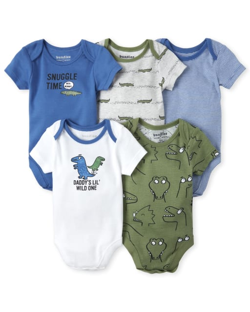 Baby Boys Short Sleeve 'Snuggle Time With Mommy' And 'Daddy's Little Wild One' Reptile Graphic Bodysuit 5-Pack
