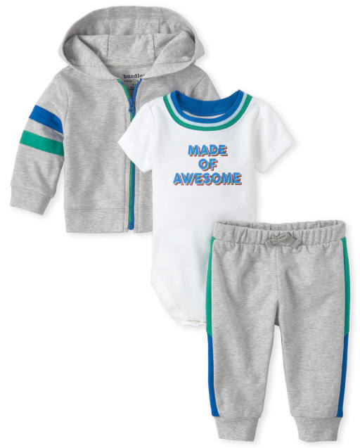 Baby Boys Short Sleeve 'Made Of Awesome' Graphic Bodysuit Striped French Terry Zip Up Hoodie And Jogger Pants 3-Piece Playwear Set