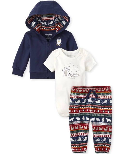 Baby Boys Christmas Long Sleeve Penguin French Terry Zip Up Hoodie Short Sleeve 'I Love My Family' Polar Bear Bodysuit And Fair Isle Animal Print Knit Pants 3-Piece Playwear Set