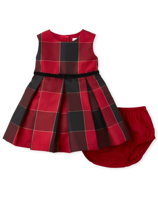 The Childrens Place Girls Baby and Toddler Buffalo Plaid Skater Dress