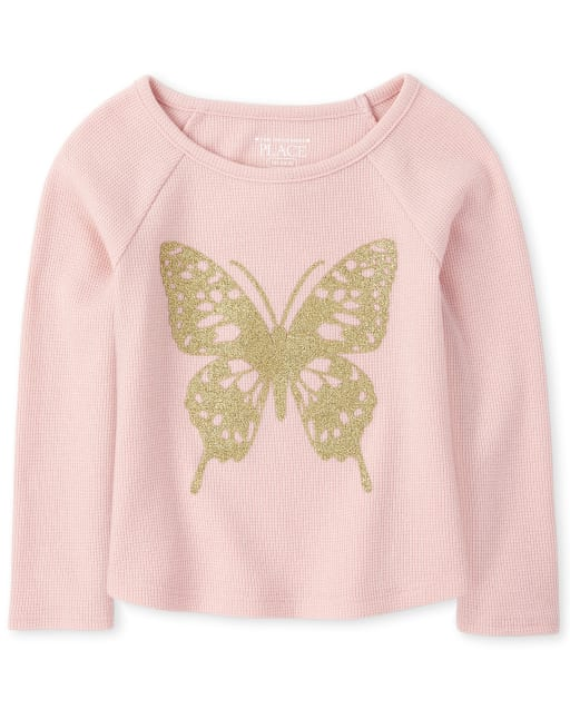 Baby And Toddler Girls Long Sleeve Glitter Graphic Thermal Top