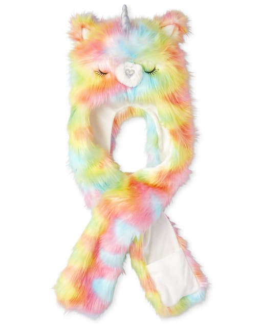 Girls Holographic And Rainbow Llamacorn Faux Fur Hat Scarf