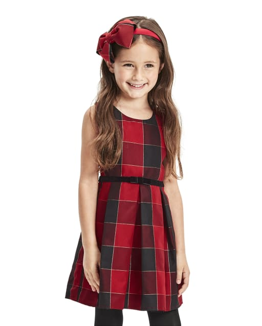 Toddler Girls Mommy And Me Christmas Sleeveless Glitter Buffalo Plaid Woven Matching Pleated Dress